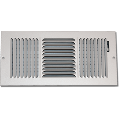 Click here to see Shoemaker 845-12X8 12in X in8 White 3-Way Stamped Vent Cover - Shoemaker 845 Series