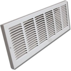 Click here to see Shoemaker 1150-14X12 14x12 Soft White Baseboard Return Air Grille (Steel) - Shoemaker 1150