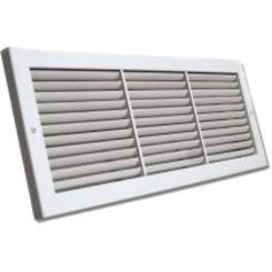 Click here to see Shoemaker 1100-26X8 26x8 Soft White Deluxe Baseboard Return Air Grille (Aluminum) - Shoemaker 1100