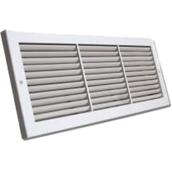 Click here to see Shoemaker 1100-32X12 32x12 Soft White Deluxe Baseboard Return Air Grille (Aluminum) - Shoemaker 1100