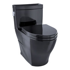 Click here to see Toto MS624214CEF#51 TOTO Legato One-Piece Elongated 1.28 GPF Universal Height Skirted Toilet, Ebony Black - MS624214CEF#51