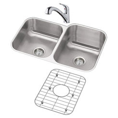 Click here to see Elkay DXUH312010LDFBG Elkay DXUH312010LDFBG Dayton Stainless Steel Double Bowl Sink Package