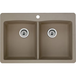 Click here to see Blanco 441285 Blanco 441285 Diamond Silgranit Dual Mount Equal Double-Bowl Sink (Truffle)