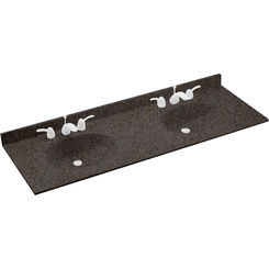Click here to see Swanstone VT022612B.124 Swanstone VT2B2261-124 Ellipse Double Bowl Vanity Top, 61