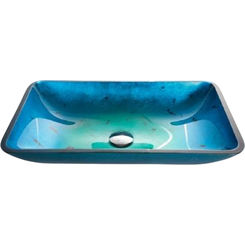 Click here to see Kraus GVR-204-RE Kraus C-GVR-204-RE-10 Irruption Blue Rectangular Glass Vessel Sink and Waterfall Faucet