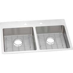 Click here to see Elkay ECTSRAD33226BG2 Elkay ECTSRAD33226BG2 Crosstown Stainless Steel Equal Double Bowl Dual Mount ADA Sink Kit