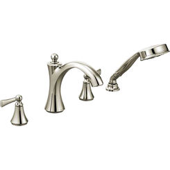 Click here to see Moen T654NL Moen T654NL Wynford Polished Nickel Roman Tub Faucet Trim With Handheld