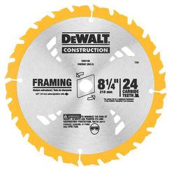 Click here to see Dewalt DW3182 Dewalt 20 Circular Saw Blade, 8-1/4in Dia x 0.05in T, 24 Teeth, 5/8in Arbor