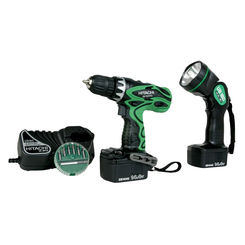 Click here to see Hitachi DS14DVF3 Hitachi DS14DVF3 Cordless Drill Kit, 1.4 V, 3/8 in Keyless Chuck, 0 - 400/0 - 1200 rpm