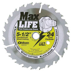 Click here to see Oldham 550C424 Oldham 550C424 Circular Saw Blade, 5-1/2 in Dia x 0.04 in T, 24 Teeth, 5/8 - 1/2 in Arbor