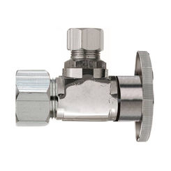 Click here to see Plumb Pak PP123PCLF Plumb Pak PP123PCLF 1/4 Turn Angle Shut-Off Valve, 1/2 X 1/4 in, Compression X OD, Brass Body, Chrome Plated