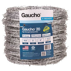 Click here to see Baekaert 118290 Gaucho 118290 2-Point Barbed Wire, 1320 ft L, 5 in Barb, High Tensile Steel, Galvanized