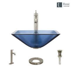 Click here to see Elkay R5-5003-CEL-R9-7001-BN Rene By Elkay R5-5003-CEL-R9-7001-BN Celeste Colored Glass Vessel Sink Kit