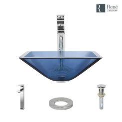 Click here to see Elkay R5-5003-CEL-R9-7003-C Rene By Elkay R5-5003-CEL-R9-7003-C Celeste Colored Glass Vessel Sink Kit