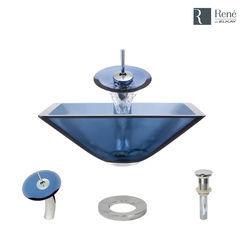 Click here to see Elkay R5-5003-CEL-WF-C Rene By Elkay R5-5003-CEL-WF-C Celeste Colored Glass Vessel Sink Kit
