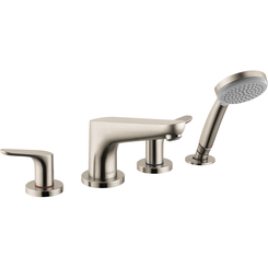 Click here to see Hansgrohe 04766820 Hansgrohe 04766820  Focus 4-Hole Roman Tub Set Trim with Handshower, Brushed Nickel