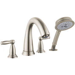 Click here to see Hansgrohe 06132820 Hansgrohe 06132820  Swing C 4-Hole Roman Tub Set Trim with Lever Handles and Handshower, Brushed Nickel