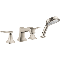 Click here to see Hansgrohe 31312821 Hansgrohe 31312821 Metris C 4-Hole Roman Tub Set Trim with Handshower, Brushed Nickel