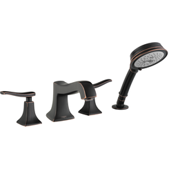 Click here to see Hansgrohe 31312921  Hansgrohe 31312921 Metris C 4-Hole Roman Tub Set Trim with Handshower, Rubbed Bronze