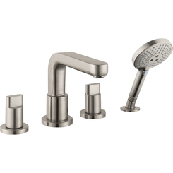 Click here to see Hansgrohe 31433821 Hansgrohe 31433821 Metris S 4-Hole Roman Tub Set Trim with Full Handles and Handshower, Brushed Nickel