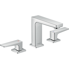Click here to see Hansgrohe 32516001 Hansgrohe 32516001 Metropol 110 Widespread Faucet with Lever Handle and Pop-Up Drain, Chrome