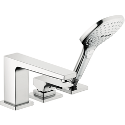 Click here to see Hansgrohe 32551001 Hansgrohe 32551001 Metropol 3-Hole Roman Tub Set Trim with Lever Handle and Handshower, Chrome
