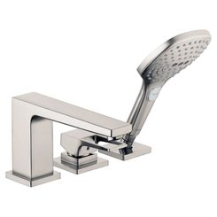 Click here to see Hansgrohe 74551821 Hansgrohe 74551821 Metropol 3-Hole Roman Tub Set Trim with Loop Handle and Handshower, Brushed Nickel
