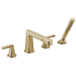 Click here to see Brizo T67498-GLLHP Brizo T67498-GLLHP Levoir Roman Tub Faucet Trim with Spray  Less Handles, Luxe Gold