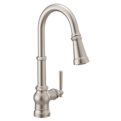 Click here to see Moen S72003SRS Moen S72003SRS Paterson Single Handle Pulldown Kitchen Faucet - Spot Resist Stainless, Lever/Wheel Handles Included