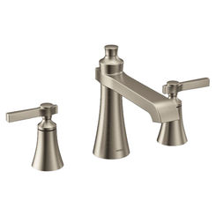 Click here to see Moen TS926BN MOEN TS926BN Flara Two-Handle High Arc Roman Tub Faucet Trim, Lever Handle, Brushed NIckel