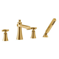 Click here to see Moen TS929BG Moen TS929BG Flara Roman Tub Faucet Trim with Spray, 2.0 GPM - Brushed Gold
