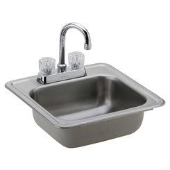 Click here to see Elkay DP211515C Elkay DP211515C Dayton Single Bowl Top Mount Stainless Steel Bar Sink + Faucet Kit
