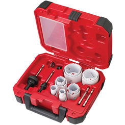 Click here to see Milwaukee 49-22-4175 Ice Hardened 49-22-4175 Bi-Metal General Purposes Hole Saw Kit, 15 Pieces