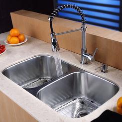 Click here to see Kraus KBU22-KPF1612-KSD30CH Kraus KBU22-KPF1612-KSD30CH Kitchen Sink And Faucet Combo