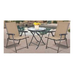Click here to see Seasonal Trends T5C27KR1J33 T5C27KR1J33 Folding Bistro Table, 27 in Dia, Round, Glass