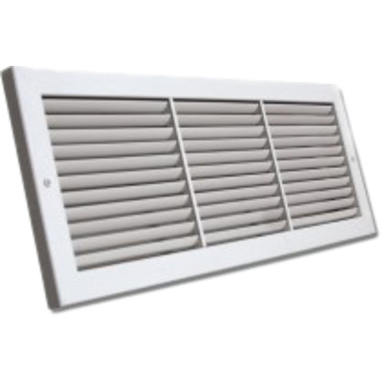 View 2 of Shoemaker 1100-22X6 22x6 Soft White Deluxe Baseboard Return Air Grille (Aluminum) - Shoemaker 1100