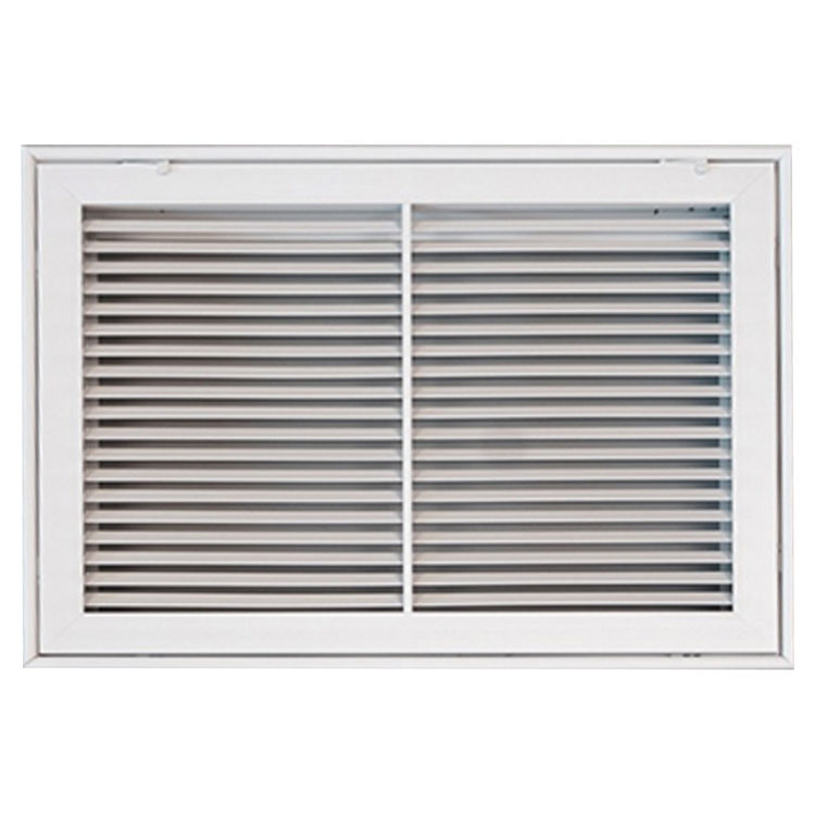 View 2 of Shoemaker 900FG-16X10 16x10 Soft White Fixed Airfoil Blade Filter Grille (Aluminum) - Shoemaker 900FG