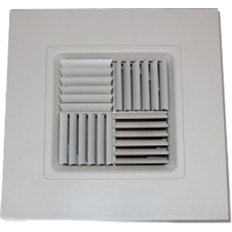 View 2 of Shoemaker 700MA0-16X16-16 16X16-16 Soft White Modular Core Diffuser in T-Bar Panel Opposed Blade Damper- Shoemaker 700MA-0
