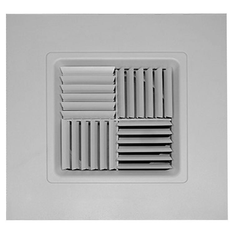 View 2 of Shoemaker 700MA0-16X16-14 16X16-14 Soft White Modular Core Diffuser in T-Bar Panel Opposed Blade Damper- Shoemaker 700MA-0