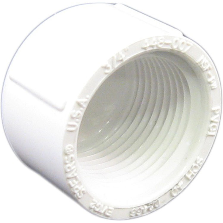Commodity  PVCCAP34T Schedule 40 PVC Threaded Cap, 3/4 Inch