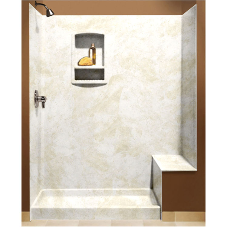 Swanstone BK-326072-125 Cloud White Shower Wall Kit With Floor, Wall,