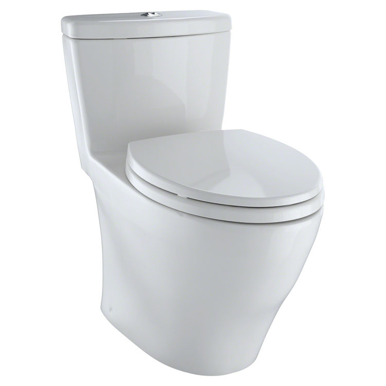 View 2 of Toto MS654114MF#11 TOTO Aquia One-Piece Elongated Dual-Max, Dual Flush 0.9 & 1.6 GPF Universal Height Skirted Toilet, Colonial White - MS654114MF#11