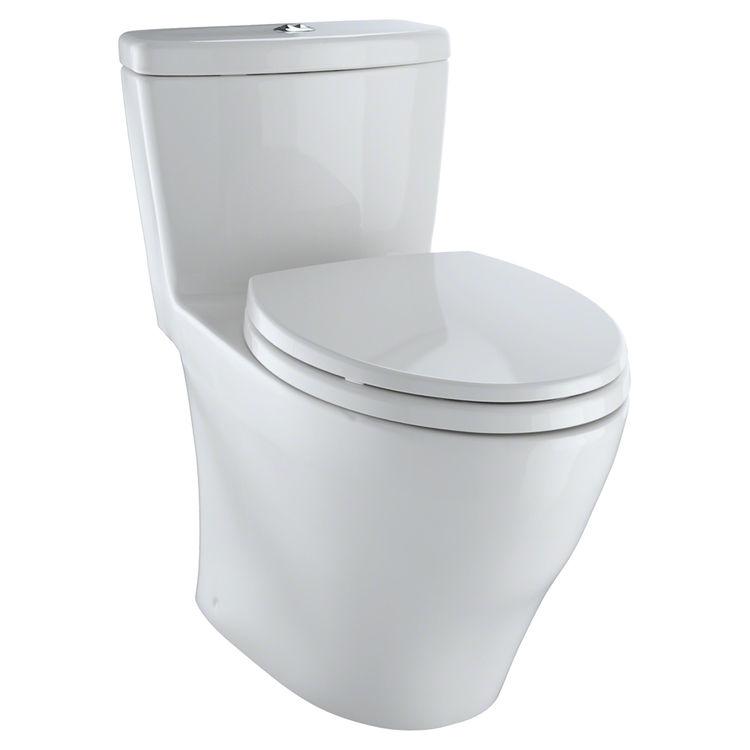 TOTO Aquia One Piece Elongated Dual Max, Dual Flush 0.9 U0026 1.6 GPF Universal  Height Skirted Toilet, Colonial White   MS654114MF#01