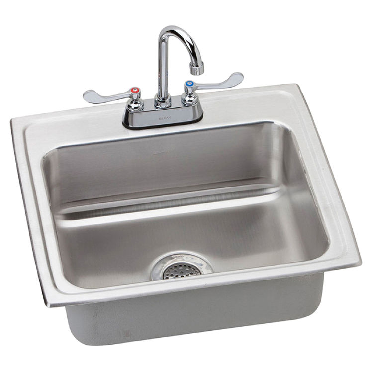 View 2 of Elkay LRAD221955SC Elkay LRAD221955SC Lustertone Stainless Steel Single Bowl Sink Package