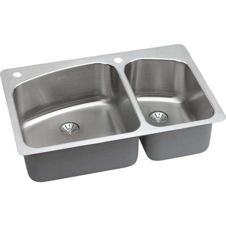 Elkay LKHSR2509RPD2L Elkay LKHSR2509RPD2L Harmony Stainless Steel Double Bowl Sink Package