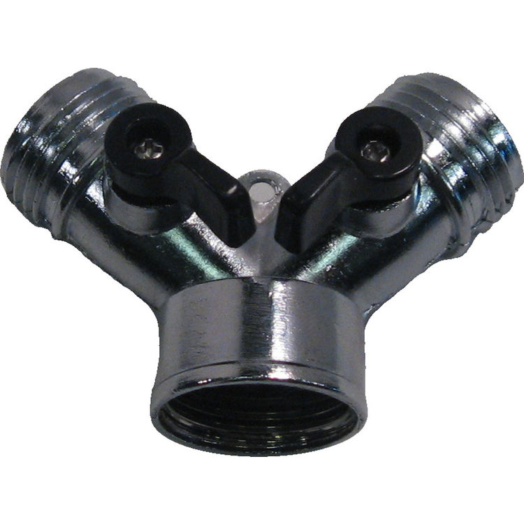 Thrifty 383-T Metal Garden Hose Wye With 2 Valves