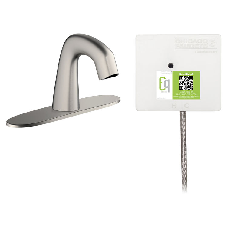 View 2 of Chicago Faucet EQ-A13A-31ABBN Chicago Faucets EQ-A13A-31ABBN EQ Brushed Nickel EQ Curved Series Lavatory Sink Faucet with Hands-free Infrared Detection