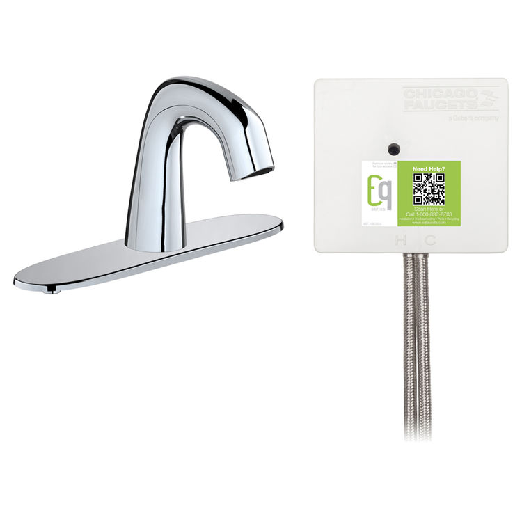 View 2 of Chicago Faucet EQ-D13B-23ABCP Chicago Faucets EQ-D13B-23ABCP EQ Chrome EQ Curved Series Lavatory Sink Faucet with Hands-free Infrared Detection