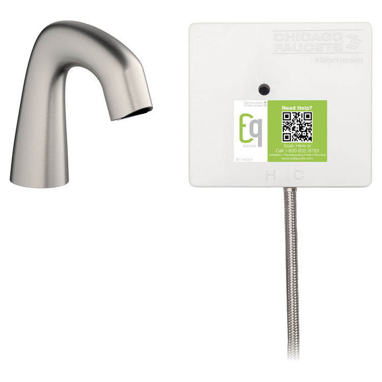 View 2 of Chicago Faucet EQ-A11A-51ABBN Chicago Faucets EQ-A11A-51ABBN EQ Brushed Nickel EQ Curved Series Lavatory Sink Faucet with Hands-free Infrared Detection