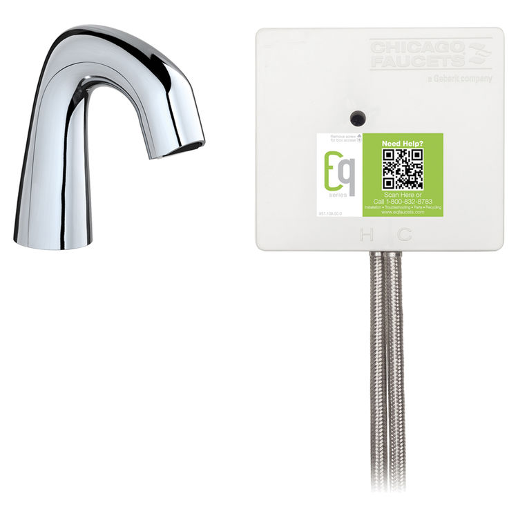 View 2 of Chicago Faucet EQ-D11A-43ABCP Chicago Faucets EQ-D11A-43ABCP EQ Chrome EQ Curved Series Lavatory Sink Faucet with Hands-free Infrared Detection